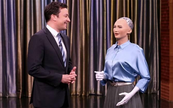 Robotka Sophia v talk show Jimmyho Fallona