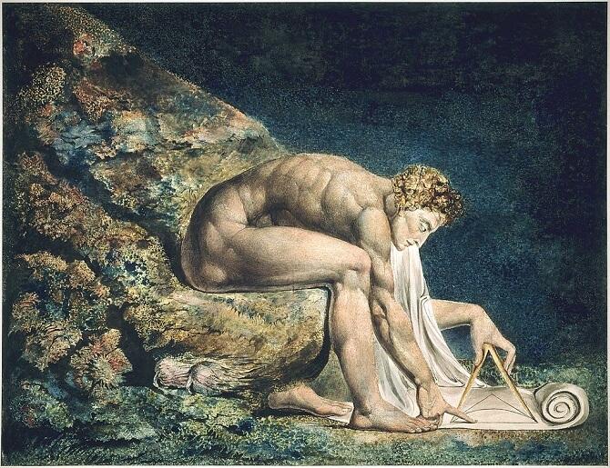 Issac Newton na obraze Newton od Williama Blakea. Obraz z roku 1795.
