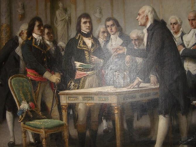 Alessandro Volta ukazuje baterii Napoleonovi na obraze Guiseppe Bertiniho z roku 1801