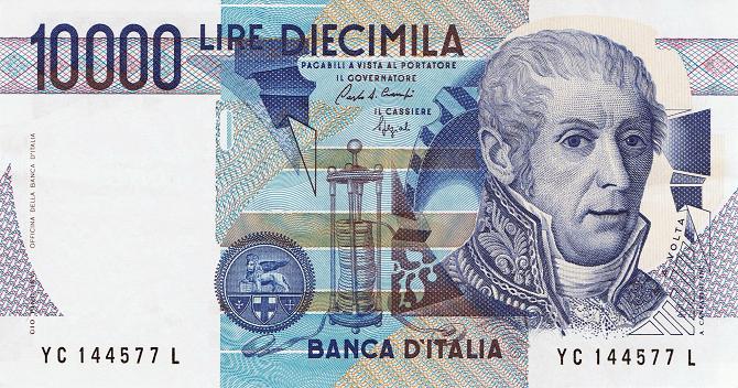 italská bankovka s obličejem Alessandra Volty