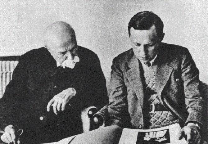 spisovatel Karel Čapek a prezident Tomáš Garrigue Masaryk