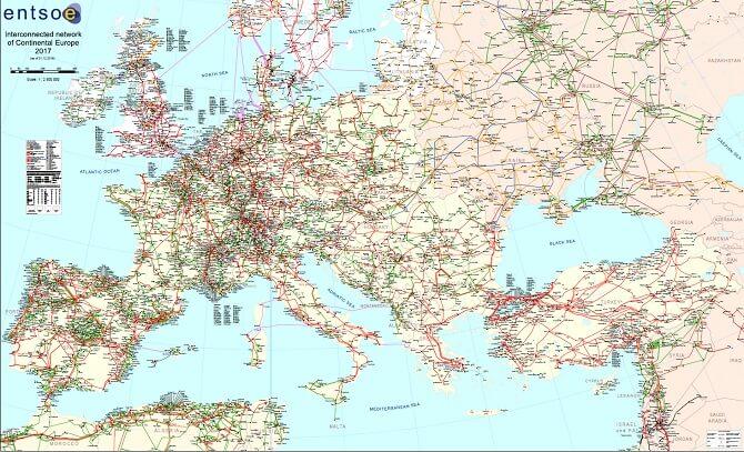 mapa propojené elektrické sítě kontinentální Evropy