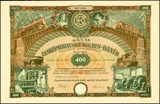 ČKD na bankovce o hodnotě 400 Kčs z roku 1927