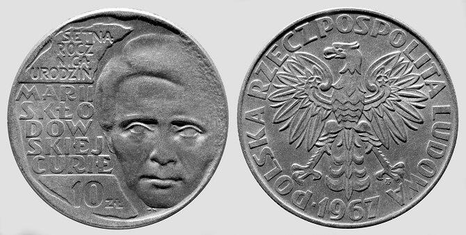 polské mince s portrétem Marie Curie-Skłodowské