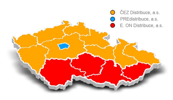 mapa distribuce elektřiny