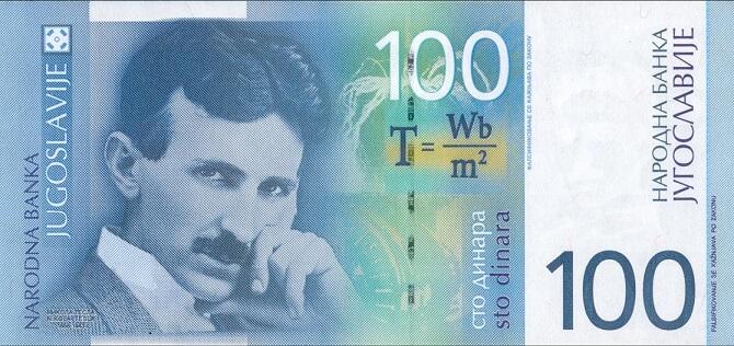 Nikola Tesla na bankovce vydané Jugoslávií v roce 2000