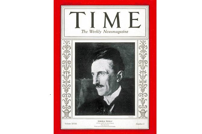 Nikola Tesla na přední stránce časopisu Time