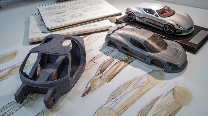 nákresy elektromobilů z Rimac Automobili