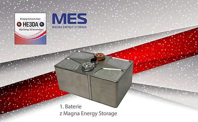 baterie HE3DA vyrobená v továrně Magna Energy Storage