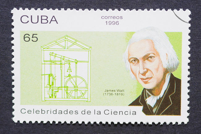 Vynálezce parního stroje James Watt se nachází také na známkách