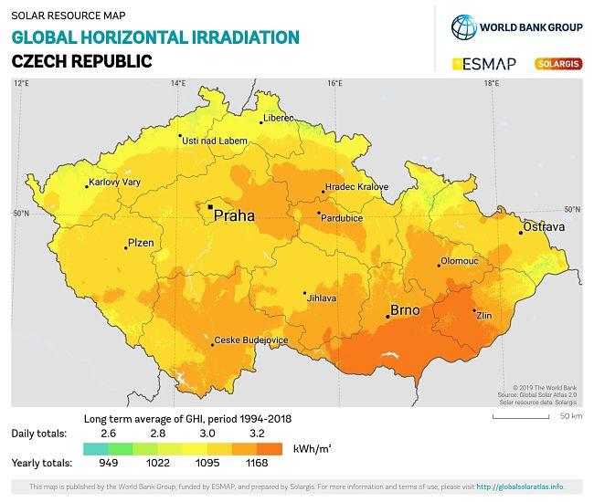 Solární mapa ČR