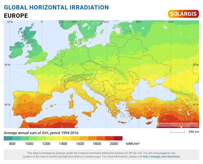 Solární mapa Evropy