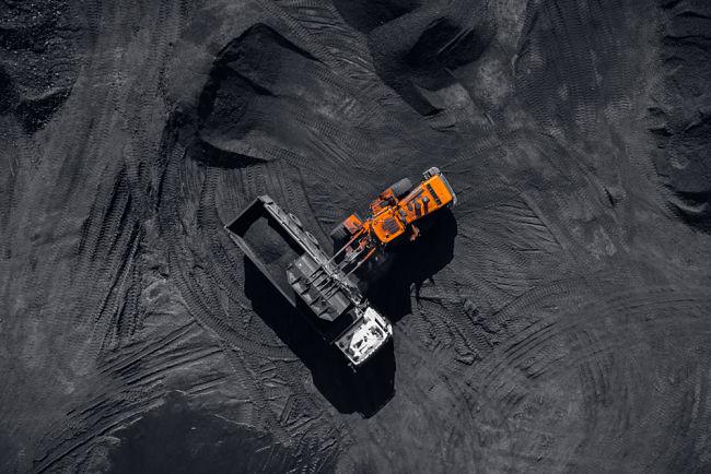 Těžba uhlí z ptačí perspektivy