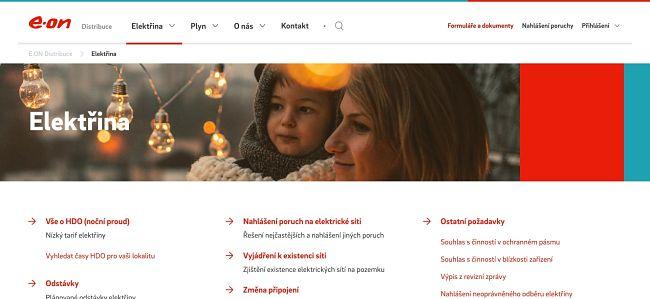 Na svém webu E.ON informuje o odstávkách na distribuční síti, kterou spravuje