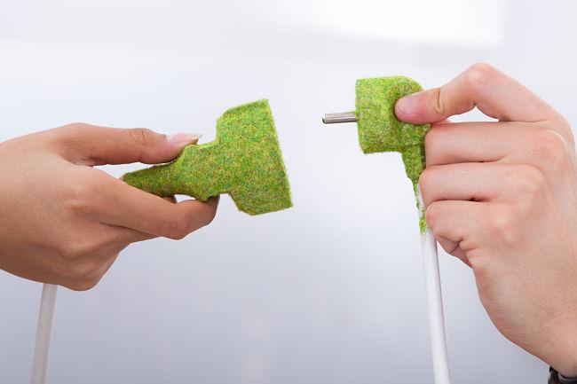Zelená zásuvka jako symbol zelené elektřiny.