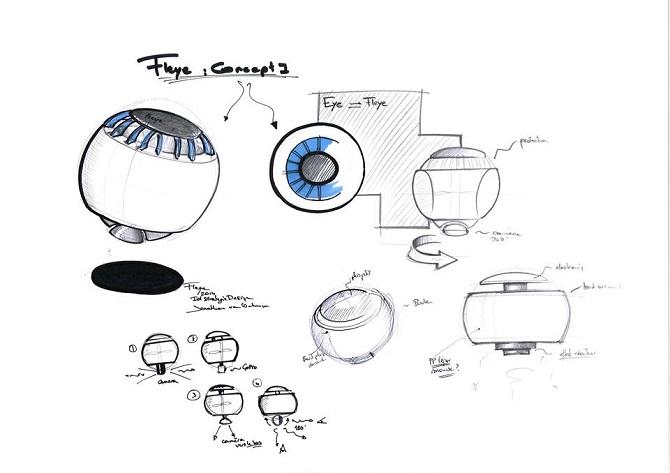 Nákres, který zobrazuje vznik dronu Fleye.