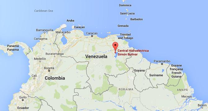 Přehrada Guri se nachází přibližně 600 kilometrů jihovýchodně od metropole Caracas.
