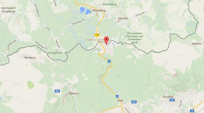 Osada Cínovec se nachází u německých hranic.