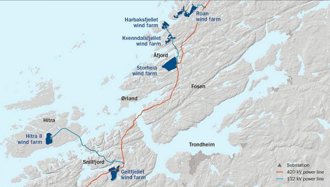 Mapa zobrazující rozložení větrných farem na norském pobřeží.