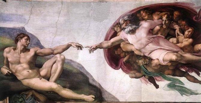 Stvoření Adama je patrně nejznámějším výjevem z Michelangelovy rozsáhlé fresky Stvoření světa.